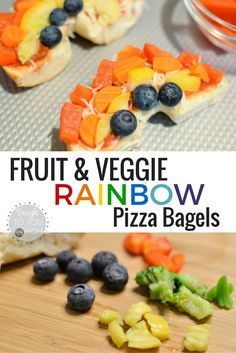 Fruit and Veggie Rainbow Pizza Bagels. A perfect meal that your kids will love making and eating.