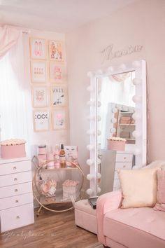 Pink Walk in Closet & Beauty Room Reveal Pink Bedroom Decor, Bedroom Decor For Teen Girls, Girl Bedroom Designs, Teen Room Decor, Room Ideas Bedroom, Girls Bedroom Pink, Pink Paris Bedroom, Kids Bedroom, Pink Bedroom Design
