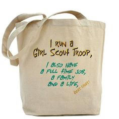 Our 100% cotton canvas tote bags have plenty of room to carry everything you need when you are on the go. They include Price - $15.00    I wish I had this one when I was a leader!