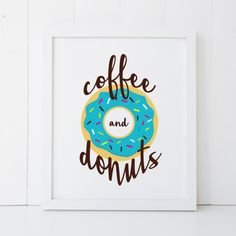 Coffee and Donuts Kitchen Home Decor Printable by RosebudPrintCo