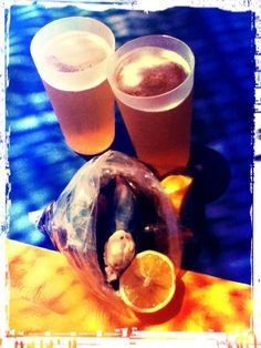 Yum! Stuffed mussels and beer.