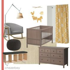 gray-brown ikea crib and dresser; yellow accents. white walls/light blue walls?