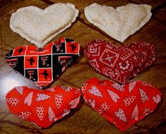 Four Bees Embroidery: Heart shaped aromatheraphy Eye pillows