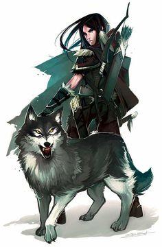 Female pathfinder half-elf ranger ranger and wolf - fantasy, woman Fantasy Character Design, Character Design Inspiration, Character Concept, Character Art, Concept Art, Dungeons And Dragons Characters, Dnd Characters, Fantasy Characters, Female Characters