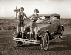 Two Beautiful Flappers in Front of a Peerless Touring Car, Bay Area, 1923.