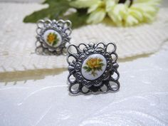 Antique Silver Filigree Vintage Rose Cameo by boutiquelibertina