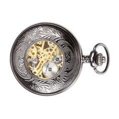 Amazon.com: CredDeal Steampunk Pocket Watch Pendant Roman Number Half Hunter-Antiqued Silver Black With Gift Box and Chain PW039: Watches