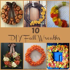 10 DIY Fall Wreaths - I like the craft-o-mania one, but use more fall colors