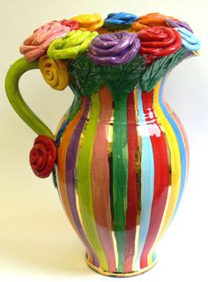 Colorful Pottery by Mary Rose Young
