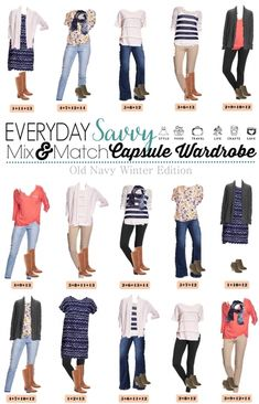 Here is a fun and affordable Old Navy Winter to Spring Capsule Wardrobe. These mix and match outfits will work great all winter and transition easily to spring. I love the cardigans, floral shirt and fun coral dolman top.
