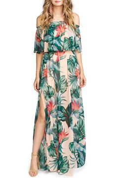 Summer Fashion Sexy Floral Printed Off The Shoulder Slit Beach Maxi Dress Sexy Maxi Dress, Dress Up, Maxi Dresses, Dress Work, Luau Outfits, Tropical Outfit, Maxi Robes, Outfit Trends, A Line Gown