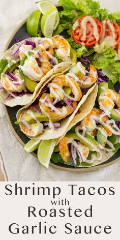 #ad These Shrimp Tacos with @bestfoods Roasted Garlic Drizzle Sauce are an easy 30-minute meal that comes together fast. They're loaded with plump, flavorful shrimp that's sautéed in @Knorr Bouillon, crisp purple cabbage, avocado, cilantro, and topped with a delicious roasted garlic drizzle sauce. Find them at Super King Market.