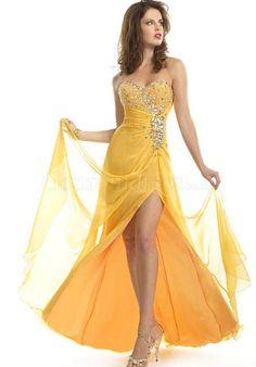 prom dress,prom dresses,prom dress,prom dresses rhinestone sweetheart yellow chiffon asymmetric prom dress