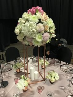 Big, bold centerpiece with hydrangeas, roses and lisianthus. Perfect for a modern, luxurious wedding. Designed by Bliss Floral Creations Hydrangeas, Personalized Wedding, Luxury Wedding, Centerpiece, Bliss, Floral Design, Roses, Table Decorations, Modern
