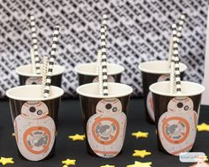 This is the droid you're looking for. These BB-8 party cups are the cutest DIY Star Wars party supplies. Get the free printable and learn how to make them.