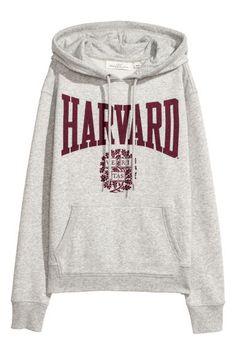 Худи с принтом - Светло-серый/Гарвард - Женщины | H&M RU 1