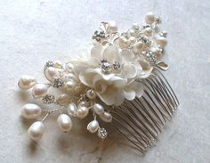 Bridal hair comb. Wedding hair accessories. by ShesAccessories, $128.80 keep coming back to this one