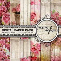 SALE romantic Digital paper roses Pack summer digital by Stilboxx