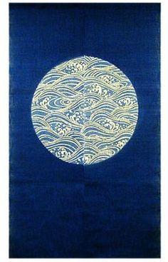 Linen Noren (Japanese Doorway Curtain)   Indigo Moon With Waves.
