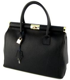 Large Structured Genuine Italian Leather Handbag With Golden