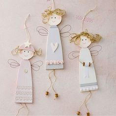 Risultati immagini per ceramic christmas ornaments to make Ceramic Christmas Angels - might be a fun idea of a craft to make for Christmas Another felt re-do: Ceramic Christmas Angels These cute little angels are made from white earthenware clay and decor Christmas Wood, Christmas Angels, Kids Christmas, Angel Ornaments, Ornament Crafts, Crafts To Make, Crafts For Kids, Diy Crafts, Diy Angels