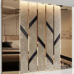3d models: Other decorative objects - Headboard made of bronze mirror and soft beige panels House Wall Design, Wall Panel Design, Living Room Partition Design, Room Partition Designs, Wardrobe Door Designs, Wardrobe Design Bedroom, Bedroom Bed Design, Bedroom Furniture Design, Simple Bedroom Design
