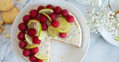 Makovo-tvarohový dort s malinami a limetami