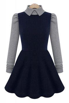 Contrast Color A-line Knit Lapel Long Sleeve Dress