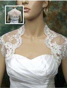 Ivory Jacket Bolero for Wedding  Party bridal Dress Short Sleeve Lace Coat Prom