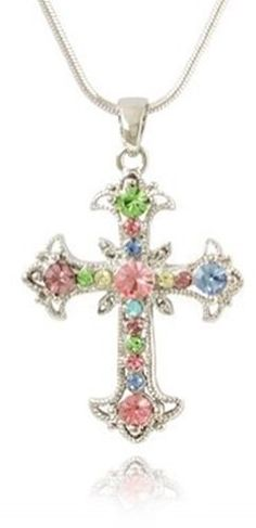Pretty Soft Pastel Pink, Blue, yellow Multicolor Rainbow Crystals Cross Necklace Silver Tone Jewelry Necklaces by Glamour Girl Gifts http://www.amazon.com/dp/B007GOKGQ6/ref=cm_sw_r_pi_dp_3kDTtb14391SNWKS