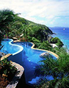 British Virgin Islands Beach Vacation at Little Dix Bay - Cascading multi level spa pool