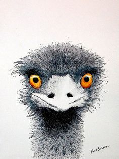 Ostrich Original Pen and Ink and Colored Pencil Pointillism Drawing