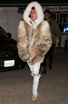 Here is Justin Bieber Taking On The Polar Vortex (in LA) in a Giant Hooded Fur Coat