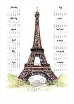 2020 Calendar, The Eiffel Tower, Paris, Watercolor, Year at a Glance Design At A Glance, Marketing And Advertising, Europe, Concept, Watercolor, Paris, Studio, Planners, Travel