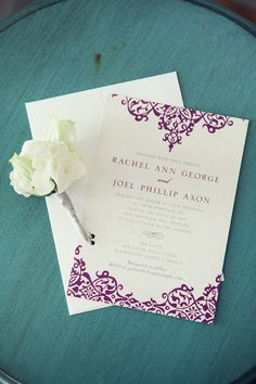wedding invitations, but not with purple, with our wedding colors
