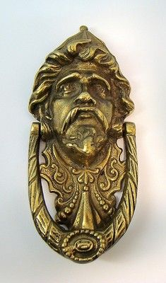 Vintage Cast Brass Figural Spaniard Door Knocker Spanish Soldier