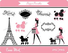 Paris Poodle Clip Art by cocoamint on Etsy, $5.00 https://www.etsy.com/listing/81303686/paris-poodle-clip-art?ref=sr_gallery_14&ga_search_query=paris&ga_ship_to=US&ga_page=17&ga_search_type=all&ga_view_type=gallery