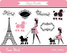 París Caniche Clip Art por cocoamint en Etsy