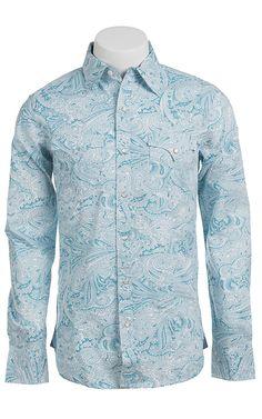 Stetson Men's Sky Blue Paisley Print Long Sleeve Western Snap Shirt