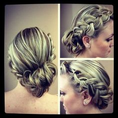 Braided updo, love the colors too!