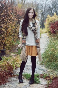 spring or Autumn (She wears the muffler of a wonderful pattern)