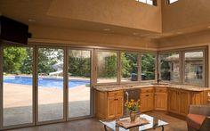 Indoor/Outdoor Kitchen #kitchen #design  |Sewickley Pool House | NanaWall