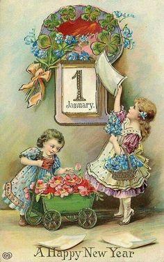 1900s New Year Postcard