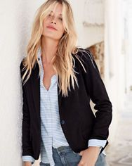Shop women's lightweight jackets at Garnet Hill. Our spring jackets include trench coats, cargo jackets, leather jackets, linen jackets, and more for the season. Work Jackets, Linen Jackets, Stitch Fit, Spring Jackets, Knit Jacket, Tunic Shirt, Lightweight Jacket, Casual Tops, Capsule Wardrobe