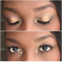 Make up on dark skin. Gold makeup on dark skin. Gold and bronze eye makeup. Golf eyeshadow. Lancôme makeup on dark skin. Lancôme eyeshadow.