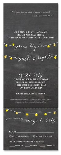 Seal and Send Wedding Invitations - Romantic Lights by ForeverFiances.  Seal and Sends save $$$.  One main envelope and invitation, post card RSVP(save on stamp costs too).