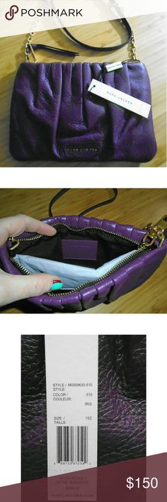 """NWT Marc Jacobs Gathered Pouch with Chain in Iris Brand new Marc Jacobs Gathered Pouch with Chain handbag in Iris Color (deep, dark purple). Tags attached showing retail price of $250.00. Packed with tissue paper. 22"""" Gold chain/shoulder strap. You will be strutting the streets in style with the Marc Jacobs? Gathered Pouch with Chain. Made of cow leather. Top zip closure. Chain link shoulder strap. Brand hardware at front. Lined interior. Imported. Measurements: Bottom Width: 9 in Depth: 1?4…"""