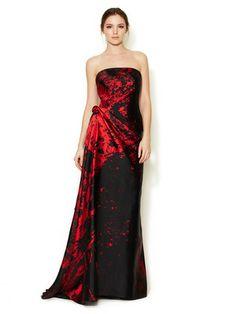 Monique Lhuillier                                                                     Silk Print Scuba Strapless Gown                           $2,999                     Gilt