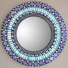 "10"" Mirror Purple by Angie Heinrich. Glass and bead mosaic"