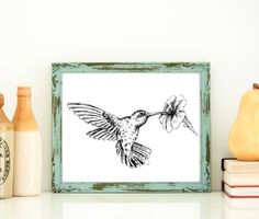 Hummingbird Poster, Woodland Animals, Bird Print, Black And White Sketch, Hummingbird wall hanging, Nature Print, Original art, Pen And Ink by Rachelsfinelines on Etsy